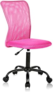 Ergonomic Desk Chair Mid Back Mesh Chair Height Adjustable Office Chair, Home Office Chair Modern Task Computer Chair No Armrest Executive Rolling Swivel Chair with Casters,Pink
