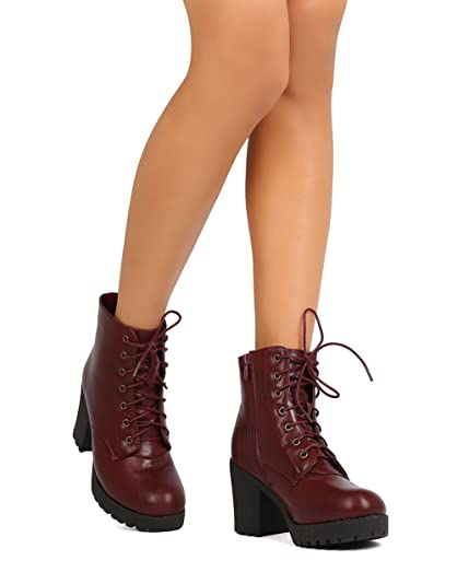 FG23 Women Leatherette Lace Up Chunky Heel Combat Bootie - Wine