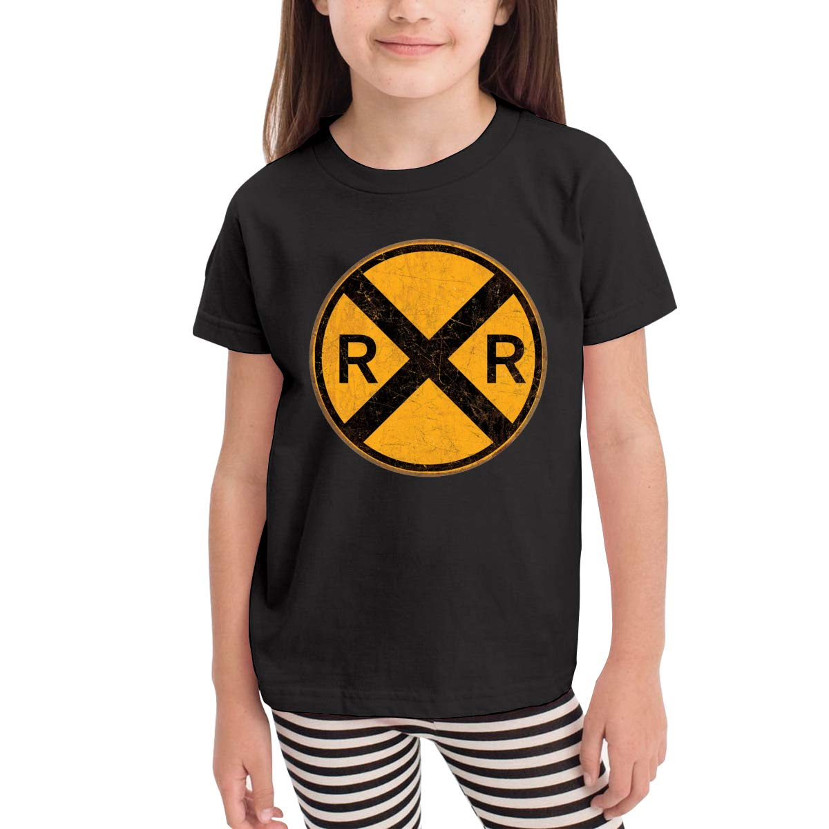 Vintage Style Railroad Crossing Round Metal Sign Kids Cotton T-Shirt Basic Soft Short Sleeve Tee Tops for Baby Boys Girls