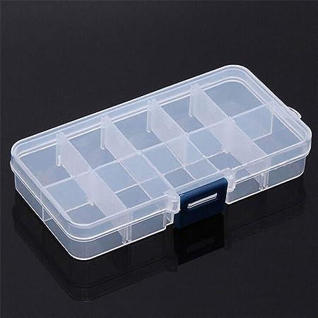WOOAI Caja de Almacenamiento de plástico Transparente Ajustable 10 Rejillas para pequeños componentes, Joyas, Joyas, Herramientas, Pastillas, Organizador de uñas, Estuche para Puntas: Amazon.es: Hogar