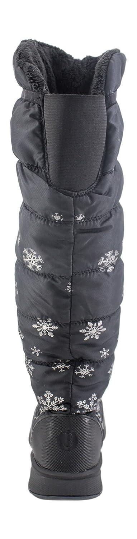 BZees Womens Glimmer Snow Boot Black Snowflake Size 9 W