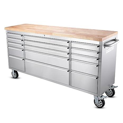 """Thor cocina 72 """"de ancho 15 cajón acero inoxidable antihuellas baúl para herramientas con"""