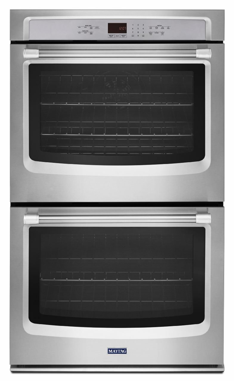 Maytag 27 Inch Stainless Steel Double Electric Wall Oven with True Convection MEW9627DS by Maytag