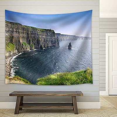 Cliff and The Sea - Fabric Tapestry, Home Decor - 68x80 inches