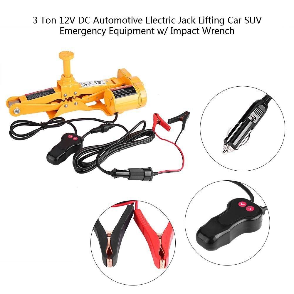 GOTOTOP 3 Tonelada 12V DC Automotor Coche Gato El/éctrico de Levantamiento Equipo Elevador de Emergencia Toma de Tijera El/éctrica para SUV Van Garaje//Llave de Impacto