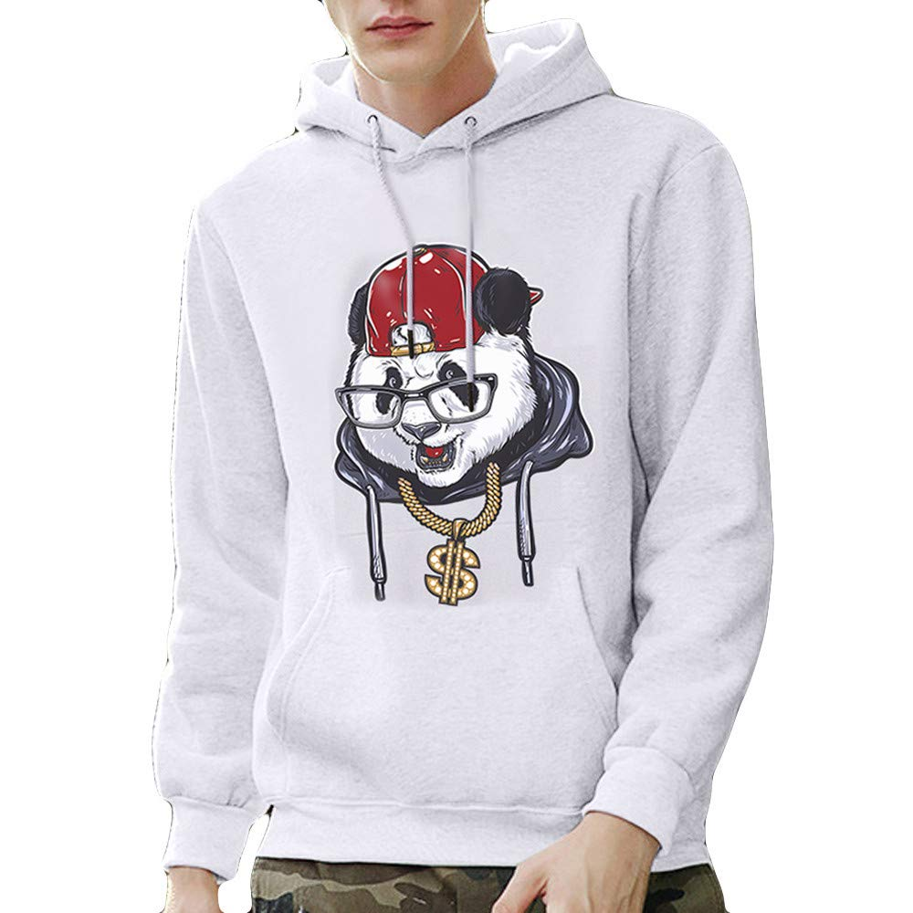 TAGGMY Pullover for Men Fashion Mens Plus Size Black Panda Printed Hoodies Long Sleeves Sweater Tops Blouse XXXLarge