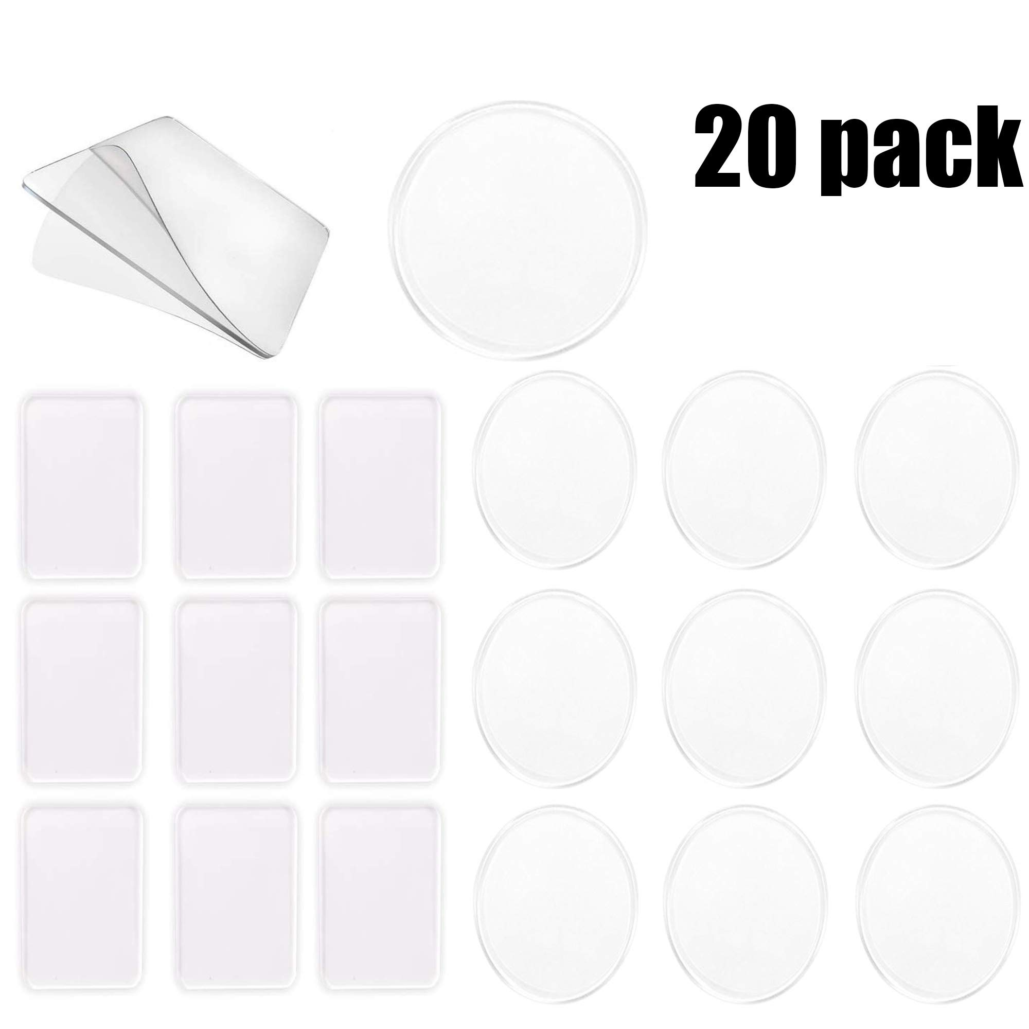 Tamicy 20pcs Removable Gel Pads(10 Rectangles and 10 Circles Each)-Super Sticky Anti-Slip Gripping Pads Clear Silicone Multipurpose Gel Pads Durable Washable for Car, Home, School, Office Use. by Tamicy