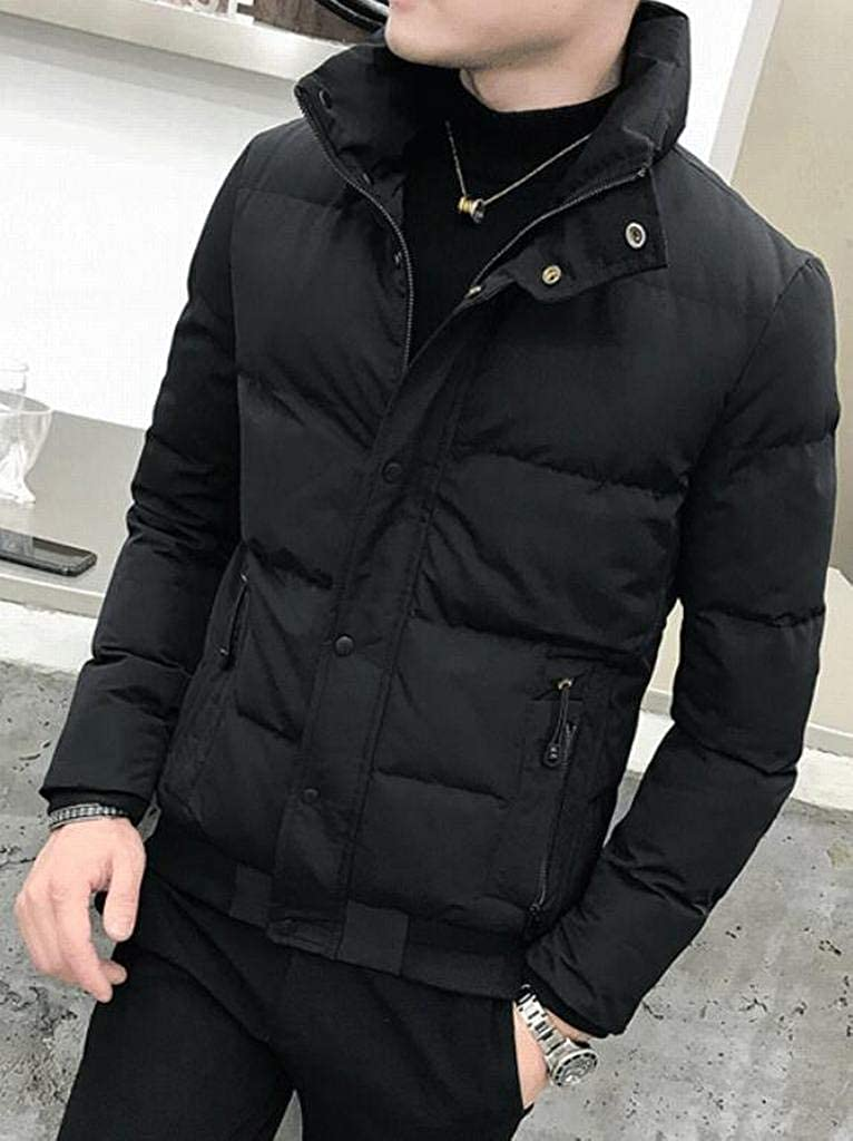 DFBB Mens Mandarin Collar Quilted Solid Color Thicken Warm Embroidery Winter Puffer Coat