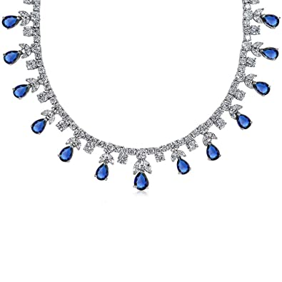 Bling Jewelry Pear CZ Simulated Sapphire Pendant Rhodium Plated Necklace 16 Inches ANaBsAy