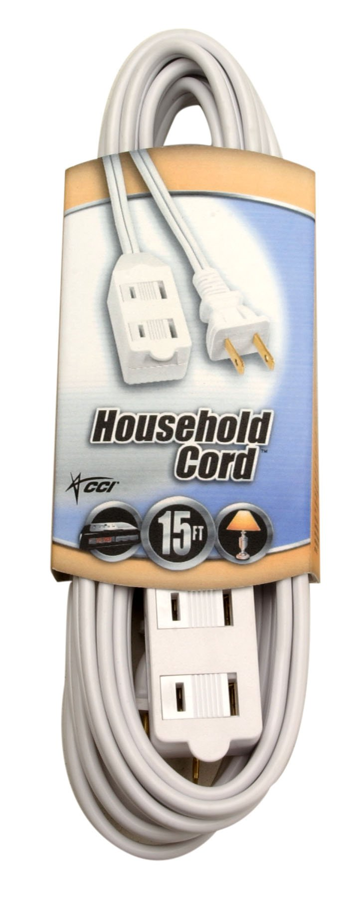 Coleman Cable 09414 Extension Cord with Cube Tap, White, 15-Foot