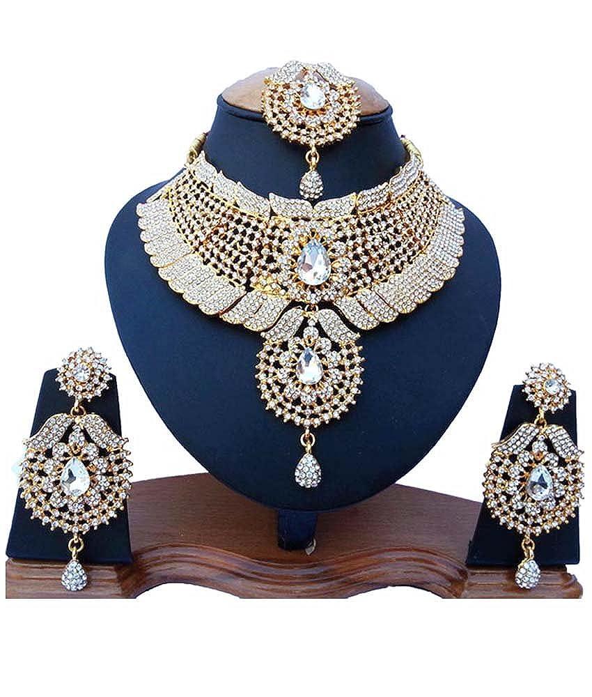 Fkraft Cubic Zirconia Latest Wedding Necklace Jewelry Set for Women Self Handmade FNS-WHT066G