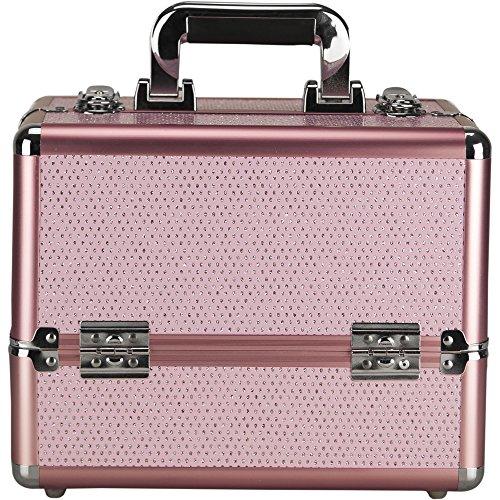 Sunrise 4 Tiers Expandable Trays Makeup Train Case Shoulder Strap Key-Lock, Pink Krystal