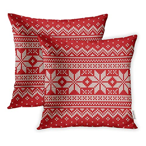 Emvency Set of 2 Throw Pillow Covers Decorative Cases Red Pattern Christmas Sweater Jumper Fair Isle 16x16 Inch Cover Cushion Pillowcase Square Case Print