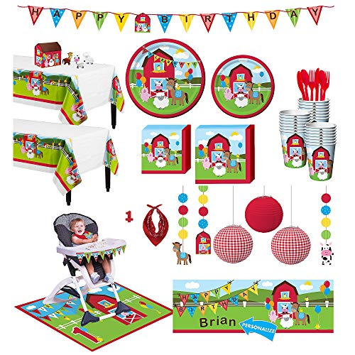 Party City Farmhouse Fun 1st Birthday Deluxe Party Kit for 32 Guests, Includes High Chair Decorating Kit and -