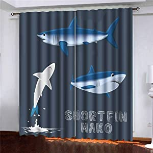 Shorping Door Small Window Curtain, Window Panels Sliding Blackout Curtains Cartoon Mako Sheer Curtains Panel for Bedroom 52X63 Inches,2 Pc
