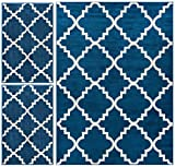 Kitchen Entryway Rugs Nellis Trellis Dark Blue Navy Moroccan Lattice Geometric Oriental Dark Blue Ivory 3-piece Living Dining Room Entryway Bathroom Kitchen Ultra Value Area Rug Set 5x7 and Bonus 2x3 Mats