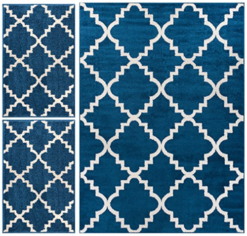 Well Woven Nellis Trellis Dark Blue Navy Moroccan Lattice Geometric Oriental Dark Blue Ivory 3-Piece Living Dining Room Entryway Bathroom Kitchen Ultra Value Area Rug Set 5x7 and Bonus 2x3 Mats