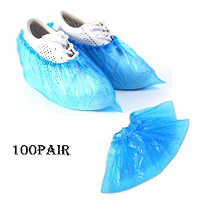 Hurrybuy Premium Disposable Boot & Shoe Covers | 100-pack (50 Pairs) | Protection for Shoes & Floors Blue: Clothing