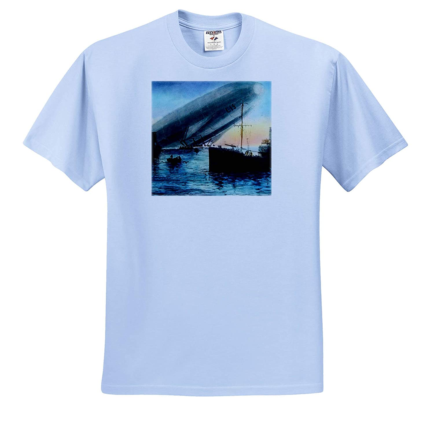 T-Shirts Zeppelin L15 Crashed in The Thames World War One Vintage Magic Lantern 3dRose Scenes from The Past