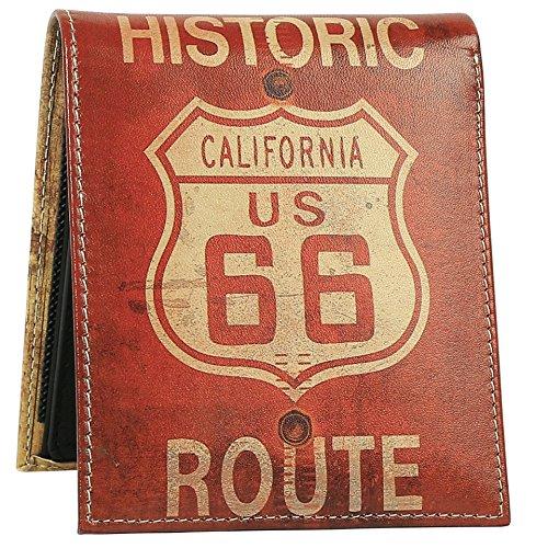 66 Con Histórica Del Vintage Cuero Diseños Ruta Ca Bandera Elegante De Billetera Cartera Genuino Hombres Doble Únicos Pliegue Id Ventana De 2 Para Los Impresa 4qSHAnwx7R