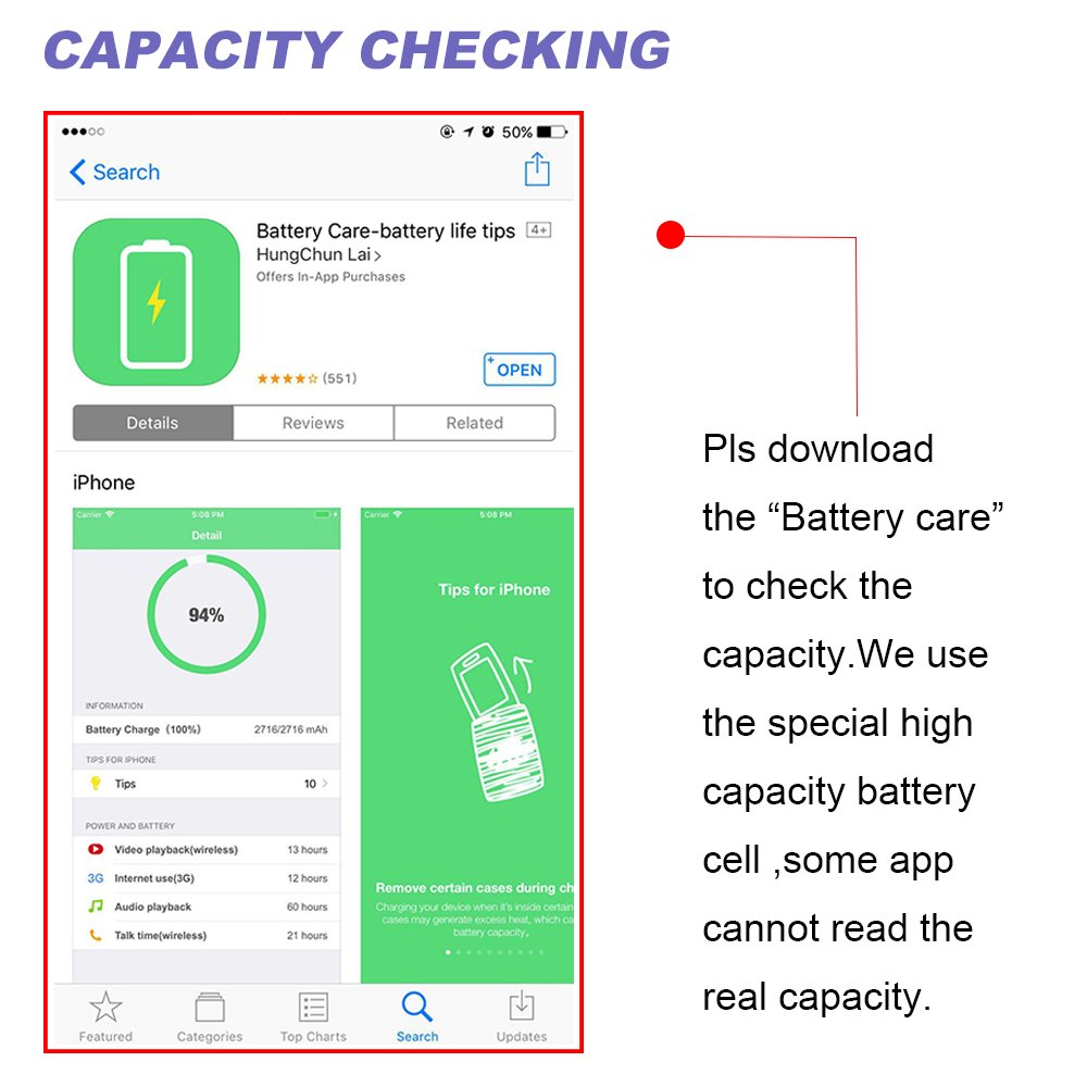 Carvesky High Capacity 2200 mAh Li-ion Battery for ip 6 Replacement with Complete Repair Tools Kits, Instruction and Screen Protector with 24 Month Warranty [Only for ip6]] by Carvesky (Image #3)
