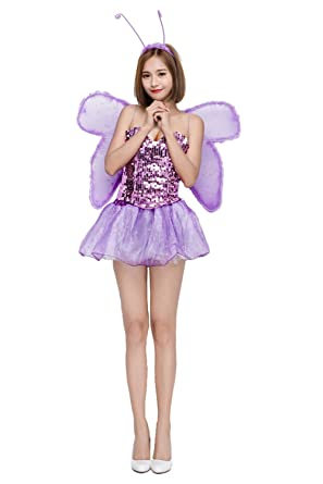 72da716a19 Amazon.com  mucloth Halloween Purple Elf Outfit Butterfly Fairy Costume  Flash Piece Tube Top Princess Dress with Wings  Clothing