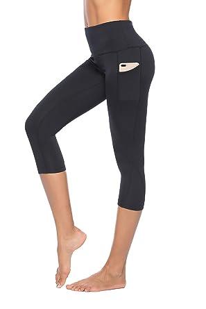 817b92ada6784 Truity Women's High Waisted Pockets Capri Leggings Slim Tummy Control Gym Yoga  Pants Black