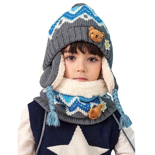 3f3c3f9c7fd TRIWONDER Kids Winter Knit Hat Scarf Set Warm Fleece Flap Cap Neck Warmer  for Boys Girls