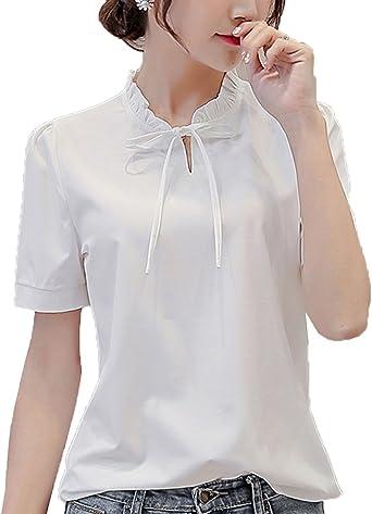 Anyu Camisetas Mujer Manga Corta Princesa Color Puro Camisas: Amazon.es: Ropa y accesorios