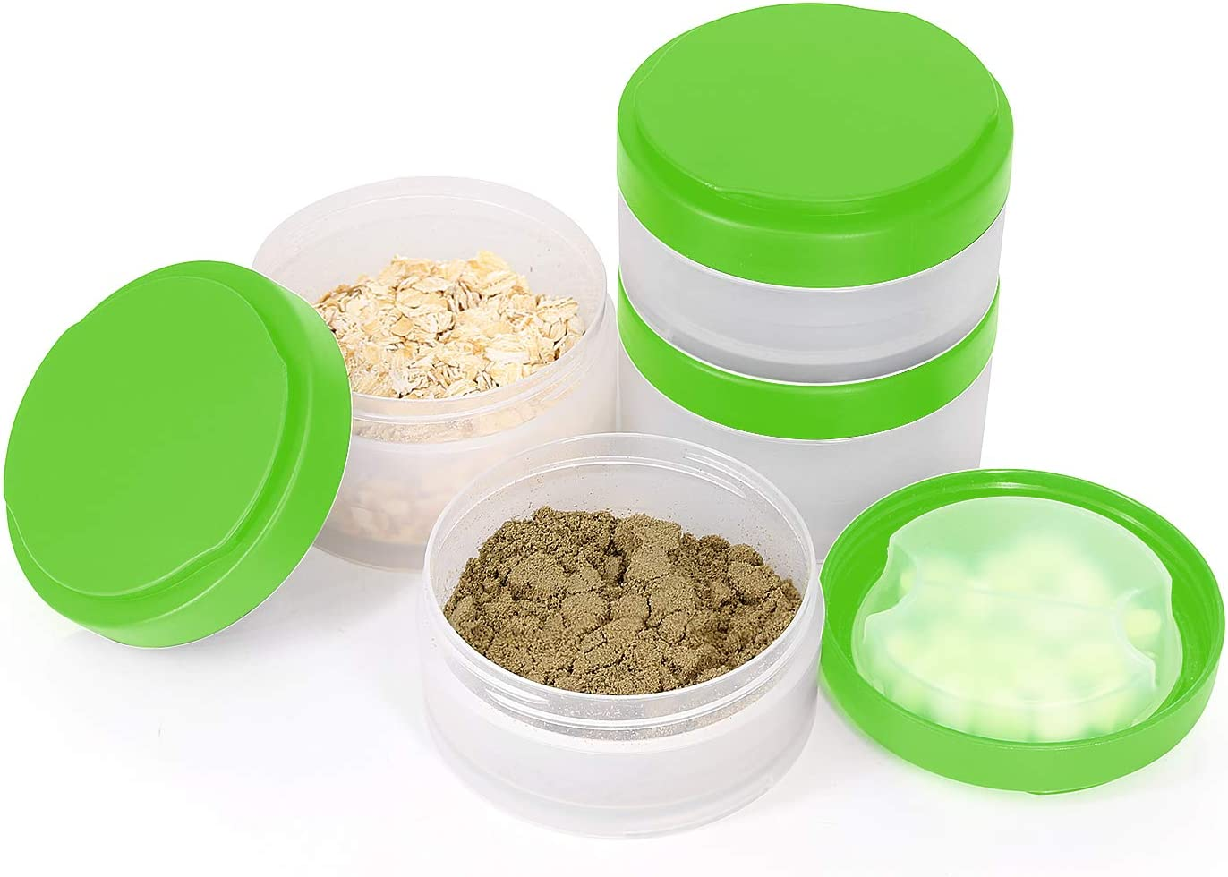 2 PACK Protein Jars with Pill Storage Tray, Replacement Storage Container for 22oz Shaker Blending Shaker Bottle with Twist & Lock on System. Perfect for Powders, Supplements in Sports Activities