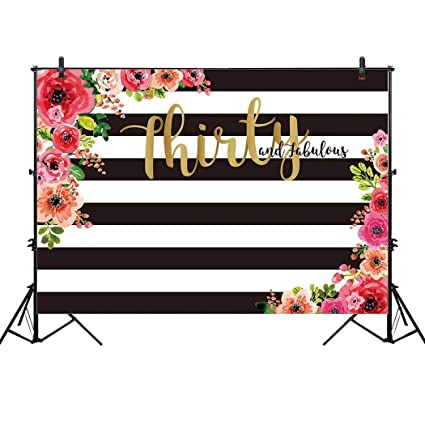 Allenjoy 10x65ft 30th Birthday Party Backdrop For Woman Lady Cake Table Adult Thirty And