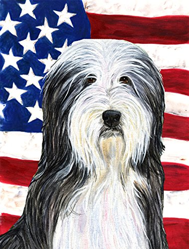 Caroline's Treasures SS4024CHF USA American Flag with Bearded Collie Flag Canvas, Large, Multicolor For Sale