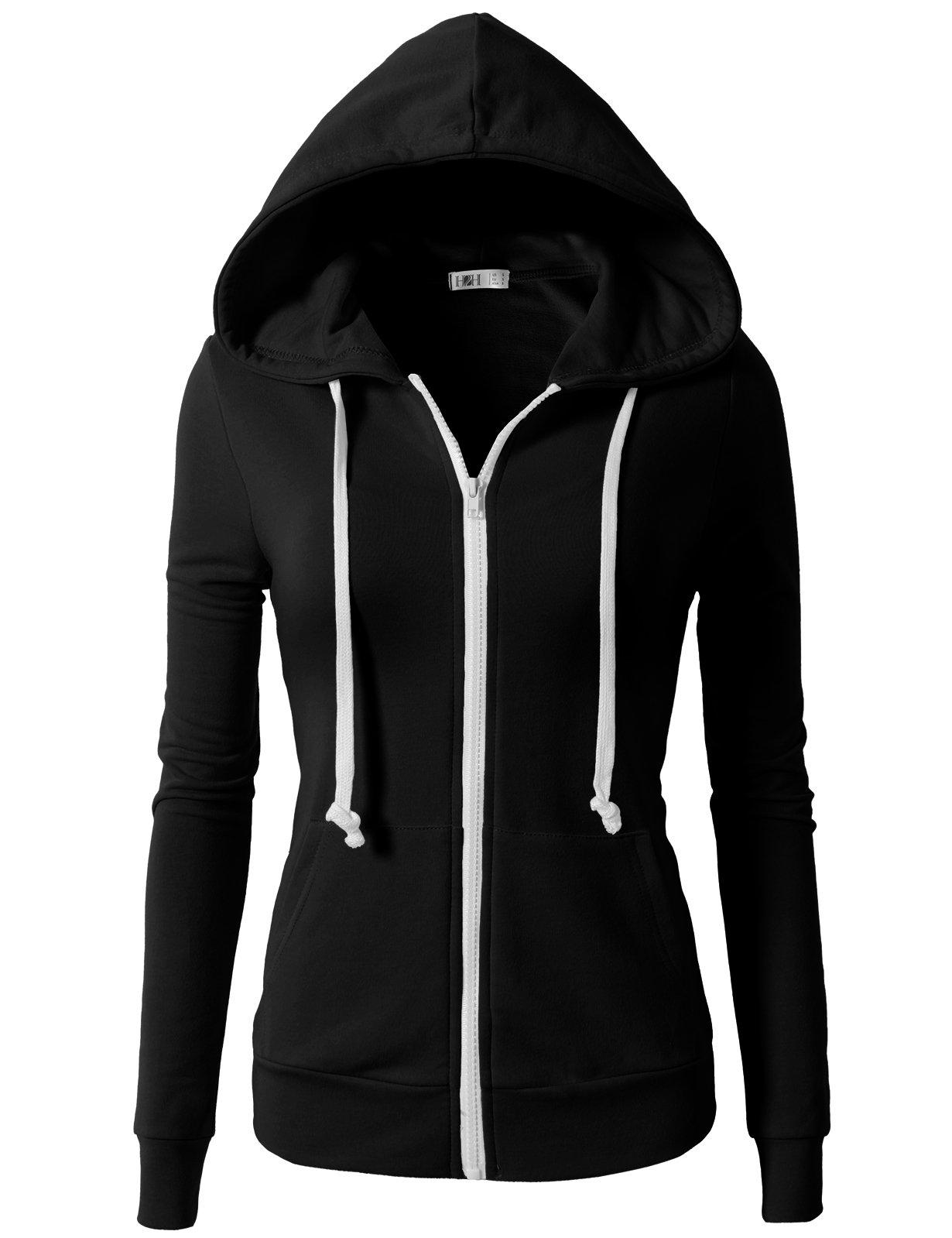 H2H Womens Casual Regular Fit Zip up Long Sleeve Hoodie Jacket Black US XL/Asia XL (CWOHOL020)