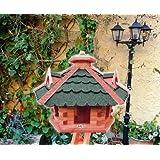 XXL großes Vogelhaus, Gartendeko, große Größen, auch mit vogelhausständer und Silo, ACHTUNG kein Bausatz von amazon oder zum Bemalen aus Holz, mit/Vogel-Futterhaus GRÜN moosgrün