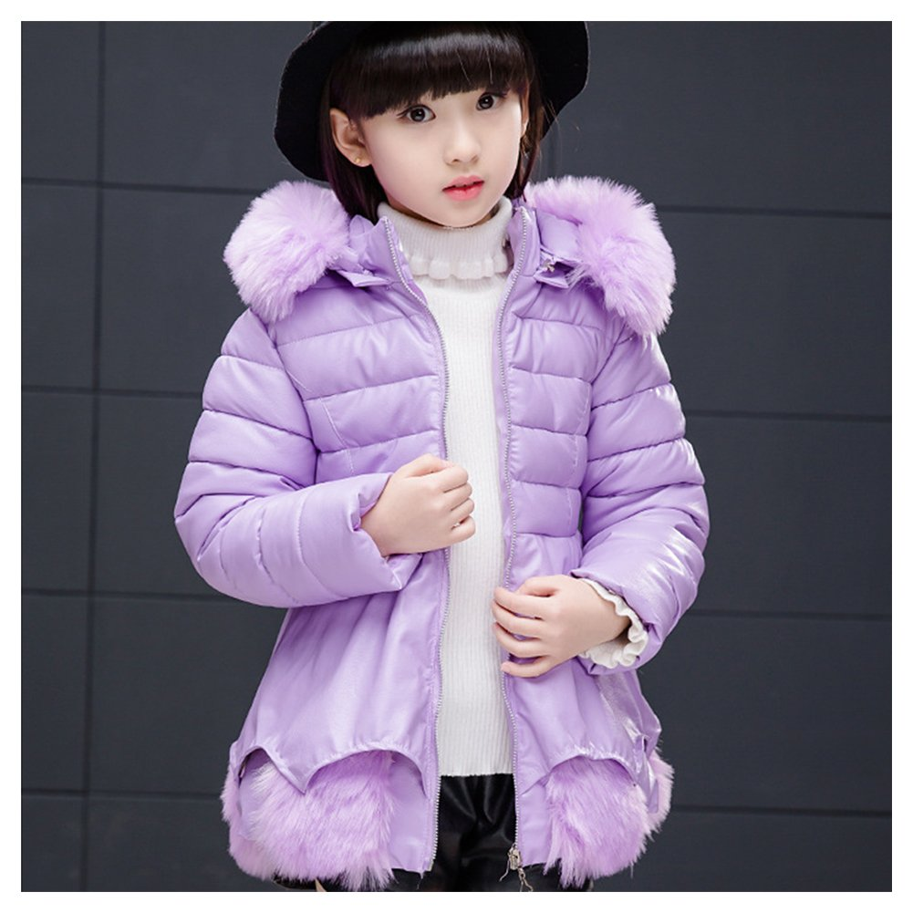 Winter Down Cotton Girl Dress Coat LSERVER Thickening Warm Kids Big Girls Fur Hooded Down Jacket