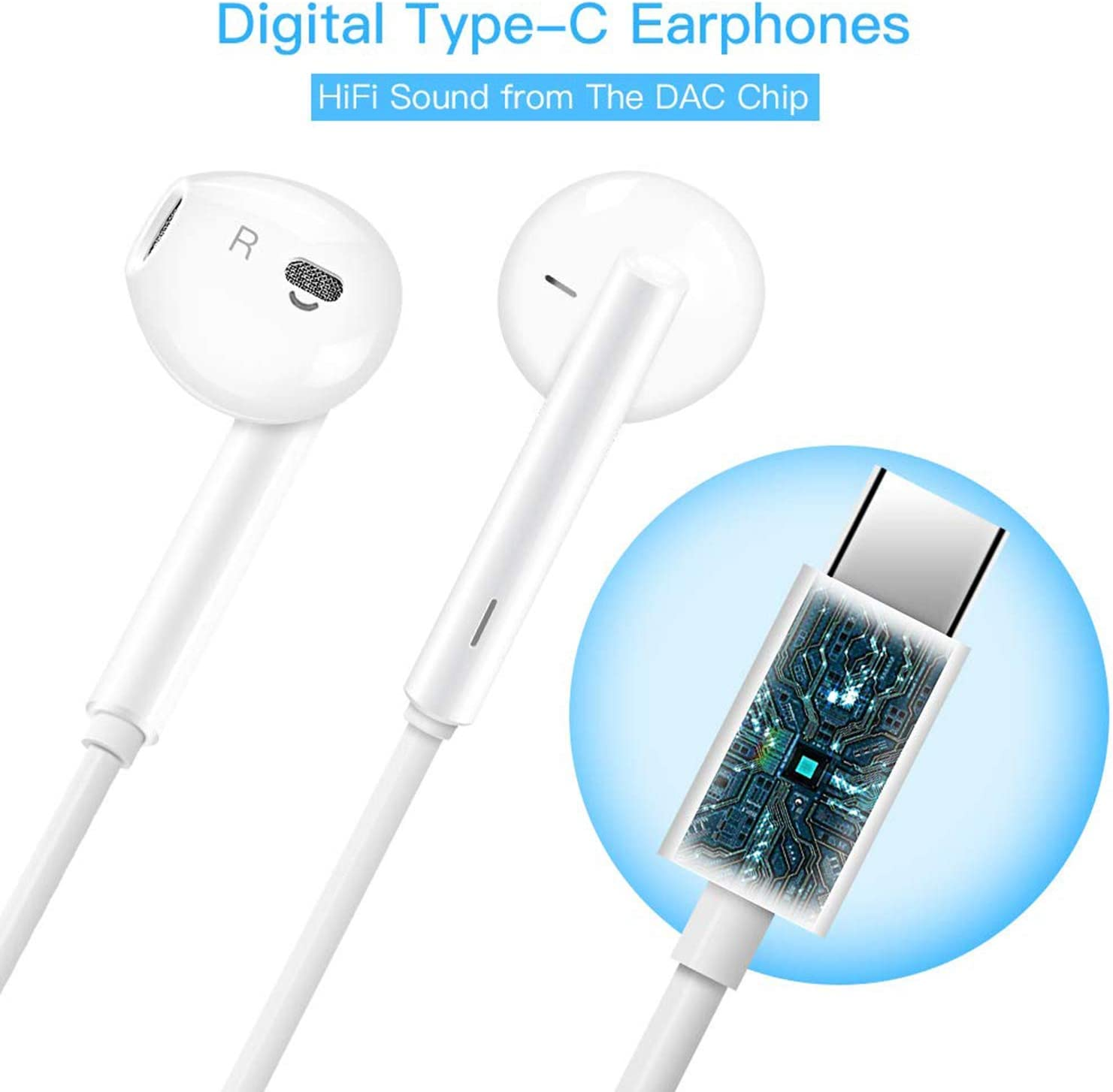USB C Headphone HiFi Stereo in Ear USB C Earbuds Type C Headphones with Microphone Bass Earbud with Volume Control Compatible with Google Pixel 3XL,OnePlus 7 Pro,XiaoMi,Huawei P30 Pro,iPad Pro,Sony: Home Audio & Theater