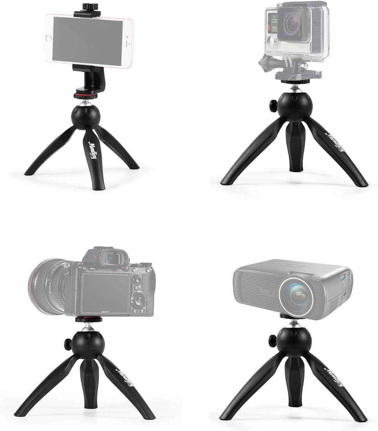 Advanced Small Phone Tripod Stand for iPhone//Samsung Smartphone GoPro Webcam Projector Small Digital SLR Camera Desktop Phone Stand Desktop Tripod Moukey MPSBK1 Mini Tripod Camera//Mobile Holder