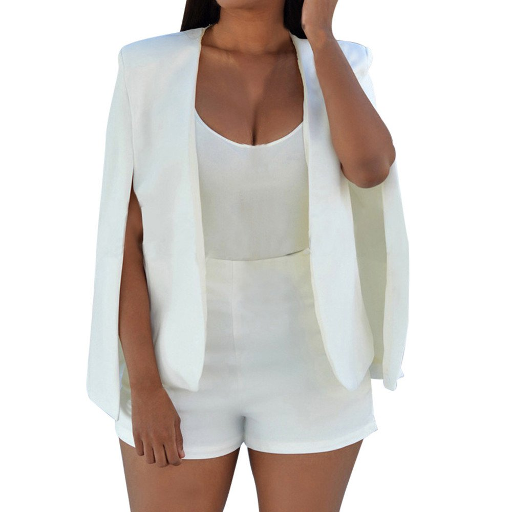 Peize Hot!!! Women Loose Long Cloak Blazer Coat Cape Cardigan Jacket Trench Outwear (S, White 2)