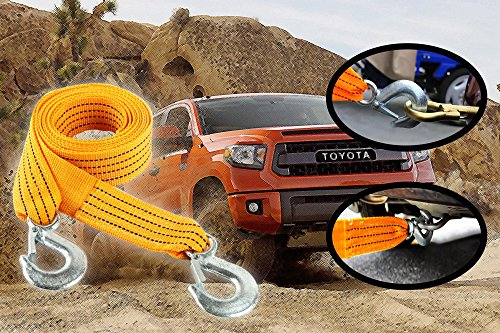 3 Tons Car Tow Cable Towing Strap Rope with Hooks Emergency Heavy Duty 6 Feet Long