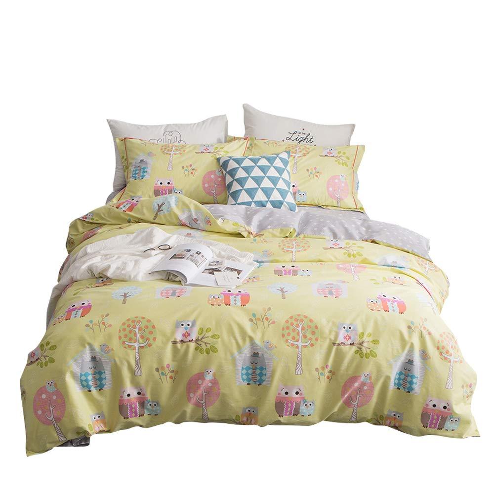BuLuTu Bedding Owl Print Kids Duvet Cover Twin 100 Cotton Yellow Boys Girls Reversible Tree Paradise Bedding Sets Twin Comforter Cover Zipper Closure Ties,All Seasons,Easy Care,No Comforter