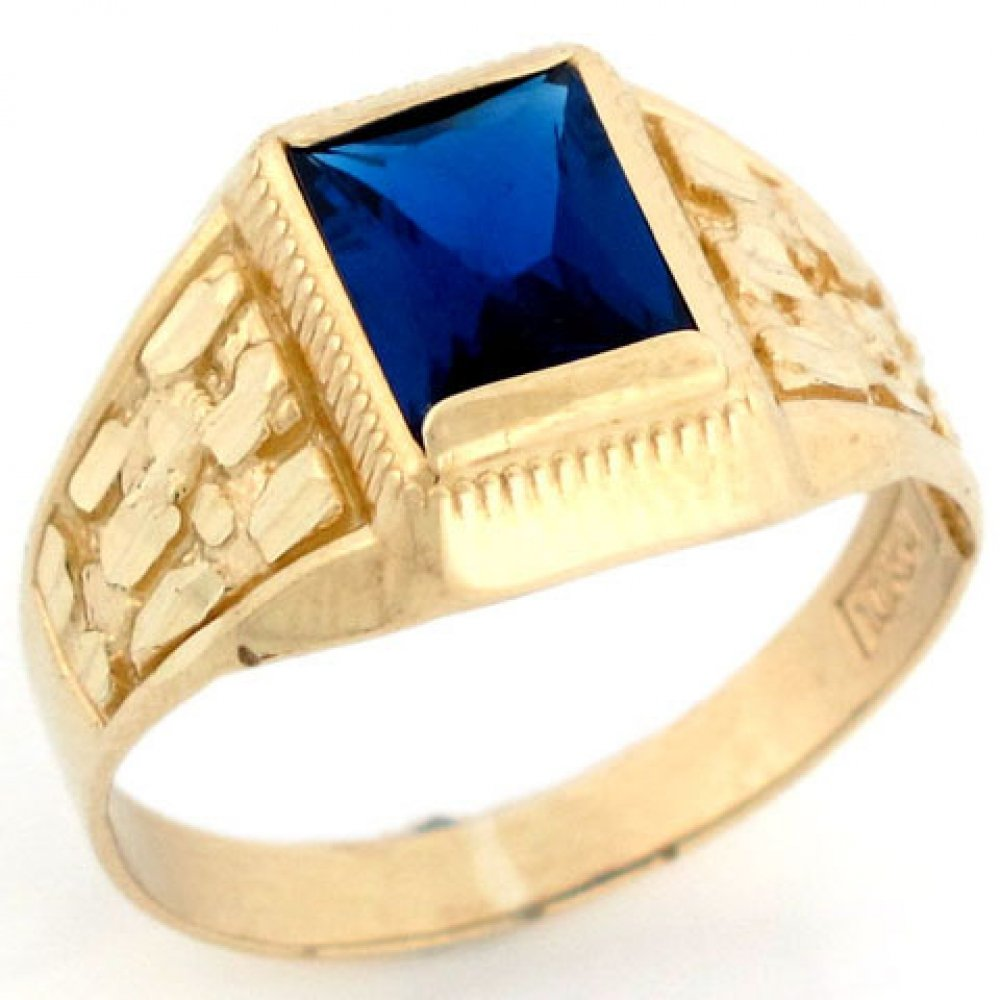 Jewelry Liquidation 10k Solid Gold Simulated Sapphire September Birthstone Diamond Cut Nugget Ring