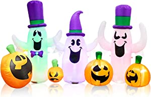 MerryXGift Halloween Inflatable Ghost with Pumpkin 8ft, Airblown Inflatable Halloween Blow up Decorations for Holiday Indoor Outdoor Yard Garden Lawn