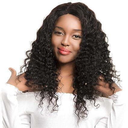 Peluca de encaje frontal de cabello humano ondulado para mujeres negras con pelo de bebé natural