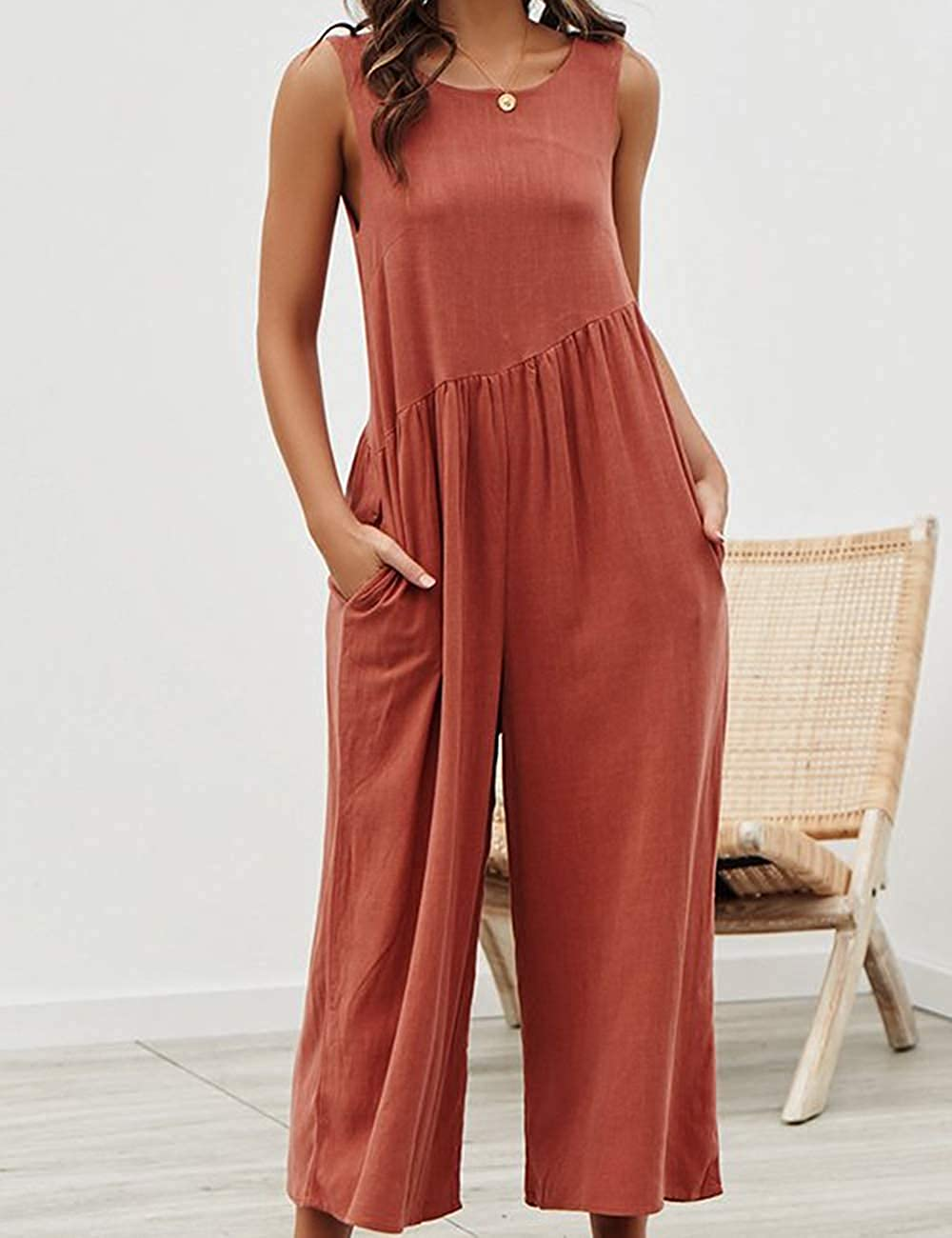 Sfuzwg Women Jumpsuit Casual Chiffon Sleeveless Wide Leg Loose Romper with Pockets