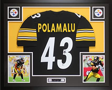 8dce23ba1 Troy Polamalu Autographed Black Pittsburgh Steelers Jersey - Beautifully  Matted and Framed - Hand Signed By