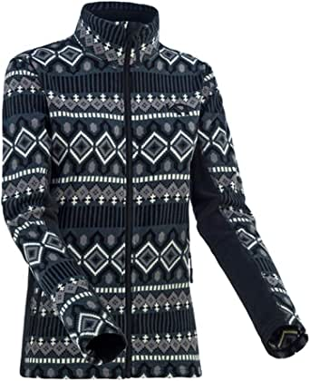 Kari Traa Womens Rille Fleece Jacket - Full-Zip Midlayer Winter Coat with a Fashionable Inca-Print Design