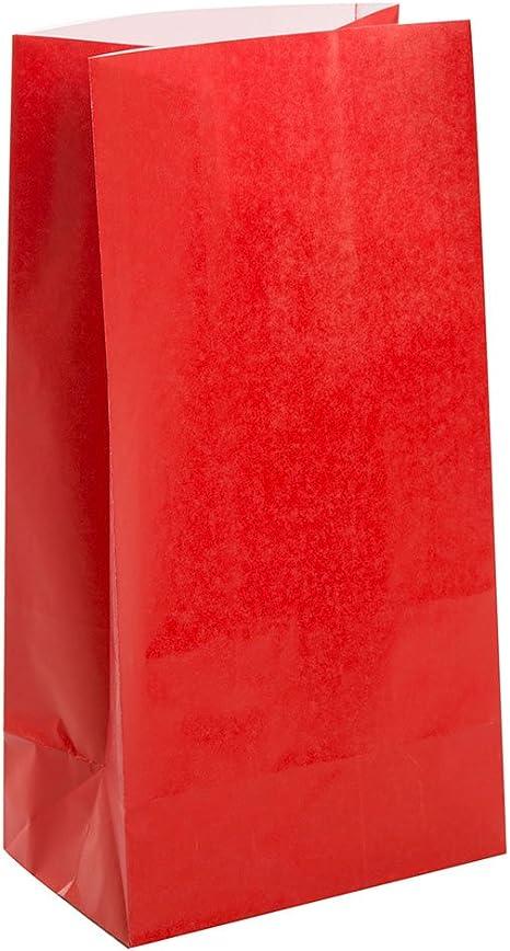 Unique Party 12 bolsas de regalo de papel, color rojo, (59003): Amazon.es: Juguetes y juegos