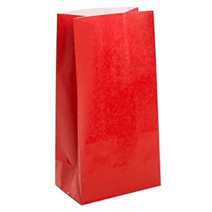 Unique Party- Paquete de 12 bolsas de regalo de papel, Color rojo, 10 (59003)