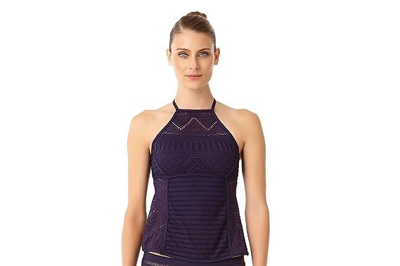 2c29a09a0610f Amazon.com  Anne Cole Women s Crochet All Day High Neck Tankini Swim ...