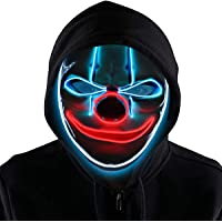 Pegason Scary Clown LED Halloween Mask Light Up Masquerade Festival Parties El Wire Cosplay Glowing Scary Mask